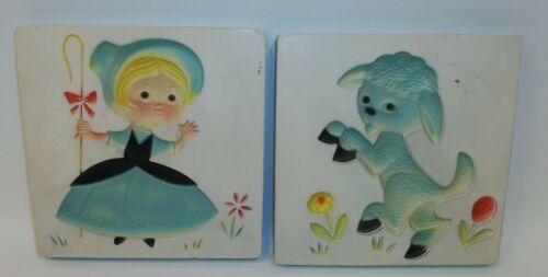 Vintage Chalkware Plaques - Little Po Peep Nursery Rhyme - Set 2