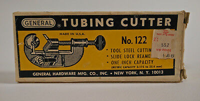 General Tubing Pipe Cutter No 122 1 Capacity Constant Swing W Original Box Vtg