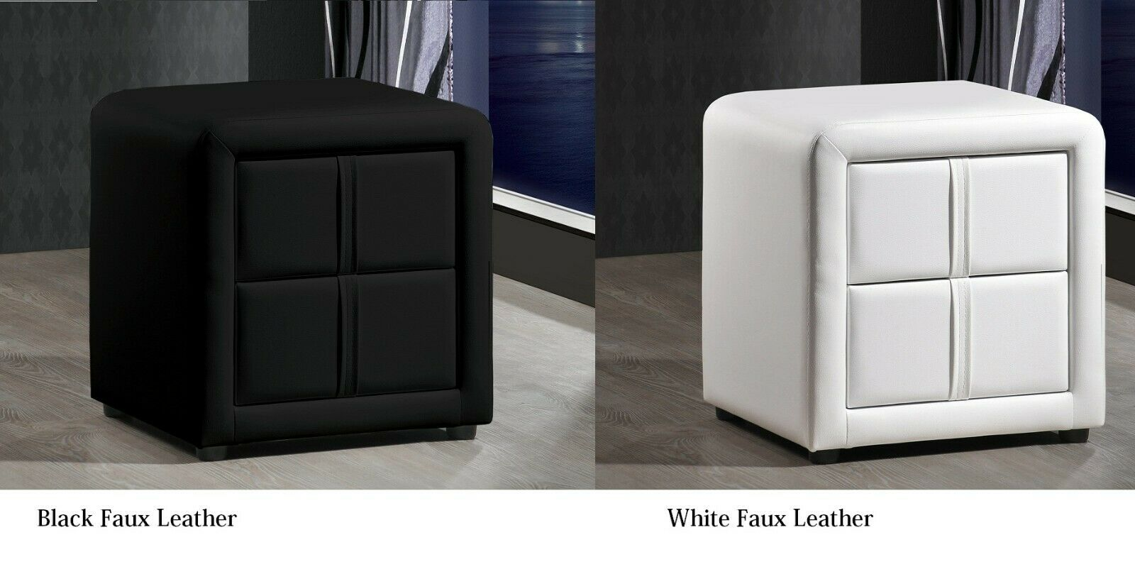 Picture of: Monaco Faux Leather 2 Drawer Bedside Table Or Cabinet Black White Ebay