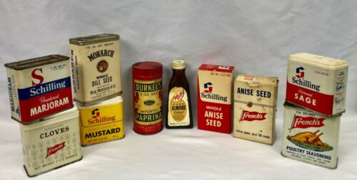 9 Vintage Spice Tins/Boxes  Plus 1 Extract Bottle French