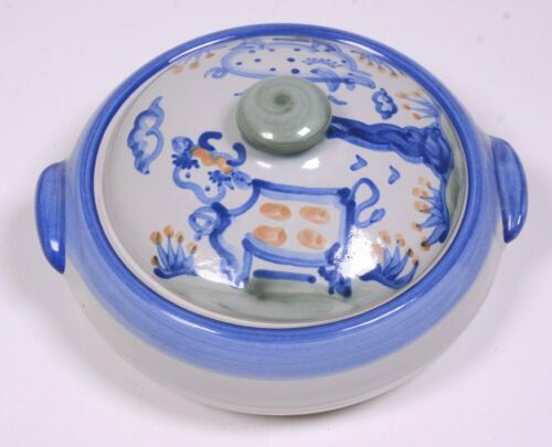 """M.A. HADLEY POTTERY Blue Country Pattern: HANDLED CASSEROLE DISH 2.75""""H x 9""""D"""