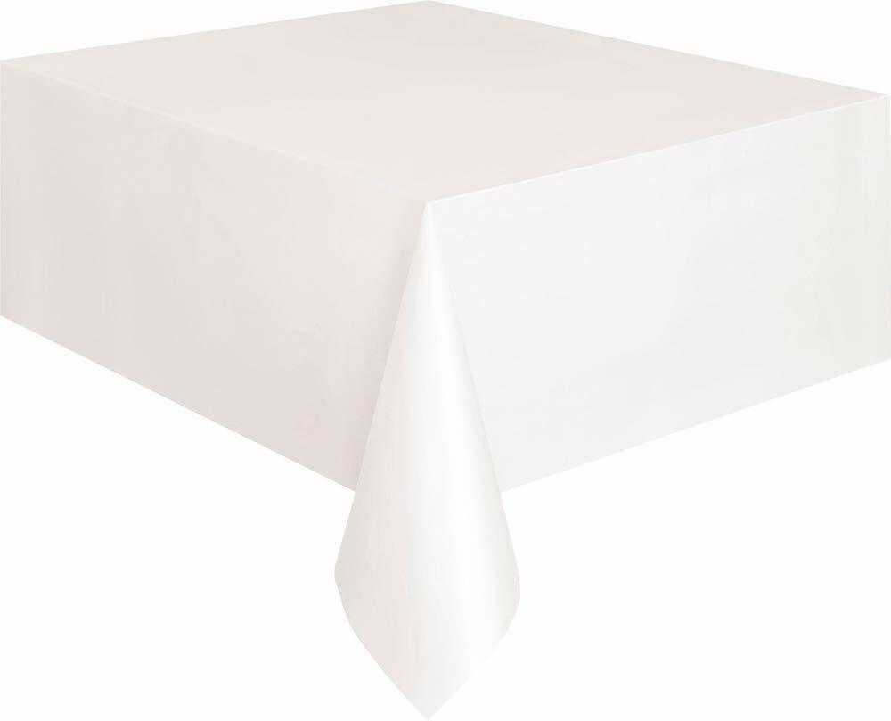 Christmas Party Ideas - White 9 x 4.5 ft (2.74m x 1.37m) Plastic Tablecloth