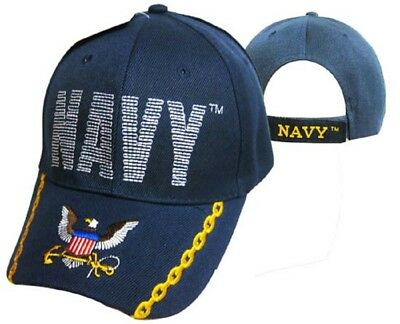 U.S.Marineblau USN Logo Eagle Anker Gesteppt Buchstaben Dunkelblau Bestickt ()
