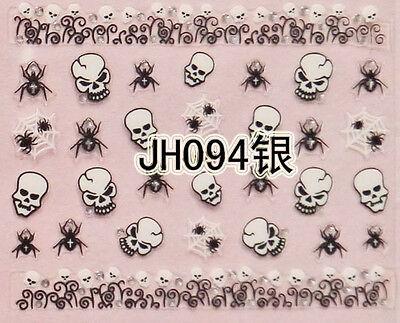 Halloween Black Spiders White Horror Skull Silver Stud 3D Nail Art Sticker - Black And Silver Halloween Nail Art