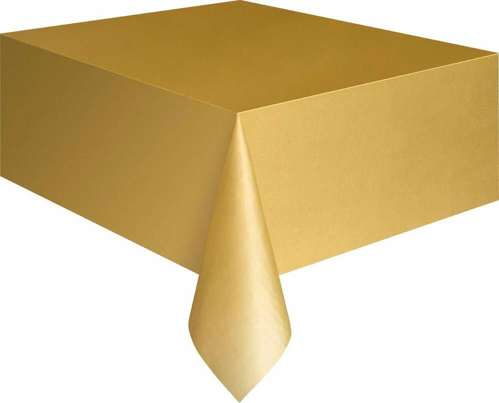 Christmas Party Ideas - Gold 9 x 4.5 ft (2.74m x 1.37m) Plastic Tablecloth Cover