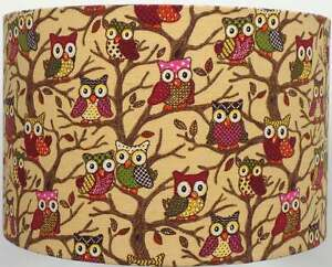 Multi-Coloured-Owls-Linen-Style-Lampshade-Ceiling-Light-Table-Lamp-NEW-2016