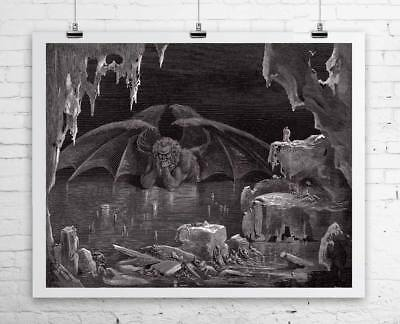 - Satan Thinking Gustave Dore Fine Art Rolled Canvas Giclee Print 29x24 in.