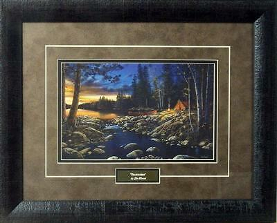 Jim Hansel  Headwaters  Camping Lake Print Framed 21  X 17