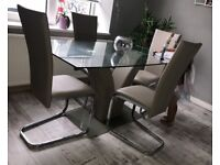Argos glass dining table & chairs