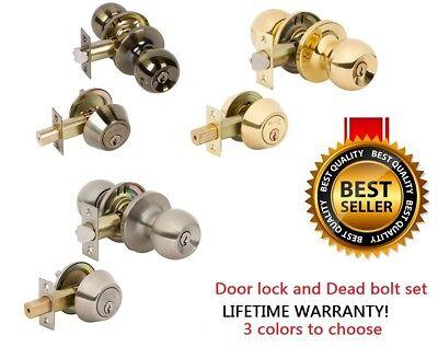 Exterior Entry Door Knob Single Cylinder Deadbolt Lock Combo Set Brass Hardware  Exterior Door Locks