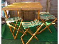 Vintage retro wood picnic table and 4 matching chairs