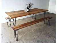 Industrial Reclaimed Timber Scaffold Board Table. On Vintage, Retro Hairpin Legs (optional set)