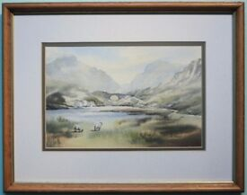 Framed Original Watercolour Painting TRASSEY BRIDGE, MOURNE MOUNTAINS, N.IRELAND