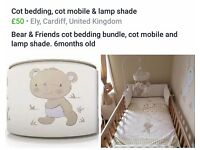Cot bedding bundle, cot mobile & lamp shade