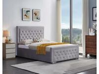 Decore Your Dream-Plush Velvet Heaven Ottoman Storage Bed Frame in Grey Color