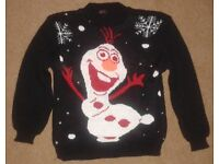 KIDS FROZEN OLAF SNOWMAN BLACK CHRISTMAS JUMPERS AGE/YEARS 7-8,9-10 &11-12