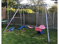 Christmas! Metal TP Triple Swing & Extension / 5 Attachments Inc 2 double swings