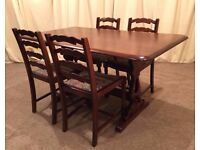 Dining Table And Chairs - Refectory Dining Table & 4 Ladder Back Chairs - See Delivery