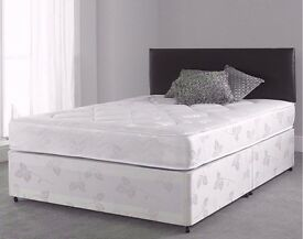 "►►Brand New►► 4FT6 Double / 4FT Small Double Divan Bed With 9"" Thick Semi Orthopaedic Mattress"