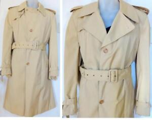 HUDSON BAY CO MENS 42R HBC VINTAGE TRENCH COAT RAINCOAT LINER LARGE L + LINER