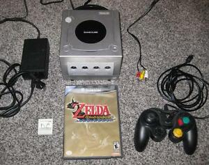 NINTENDO GAMECUBE SYSTEM WITH ZELDA WIND WAKER, MEMORY CARD AND CONTROLLER