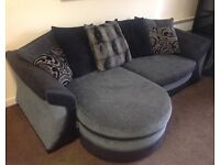 DFS 4 seater pillow back lounger chaise - Charcoal