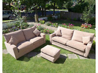 Set of 2 Sofas + Footstall + Scatter Cushions *EXCELLENT CONDITION* Brown Fabric Couch/Settee/Sofa