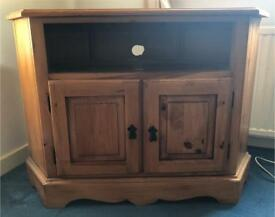 Solid Wood Tv Stand/Unit with 2 Storage Cupboards
