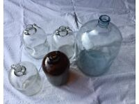 5 x Glass Demijohns for Winemaking