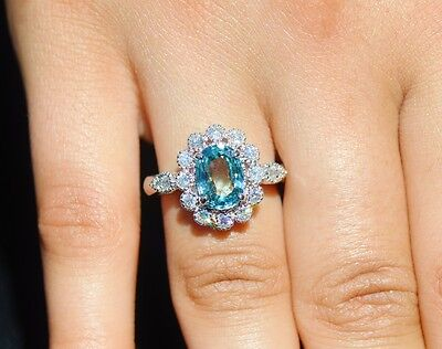 Certified Natural 3.8cts VS F Diamond Blue Zircon 18K Solid Gold Engagement Ring