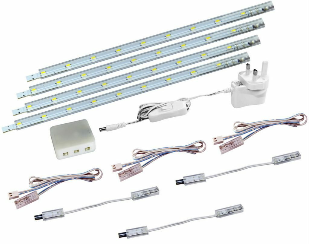 4 X 30cm Plug In LED Under Kitchen Cupboard Cabinet Strip