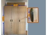 Ikea Pax Wardrobe white stained oak finish