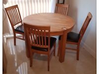 Park Furnishers - Round Solid Oak Dining Table And 4 Chairs (leather Seats)