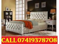 Crush velvet Bed Available in Double Single Kingsize with Mattress Options netwet