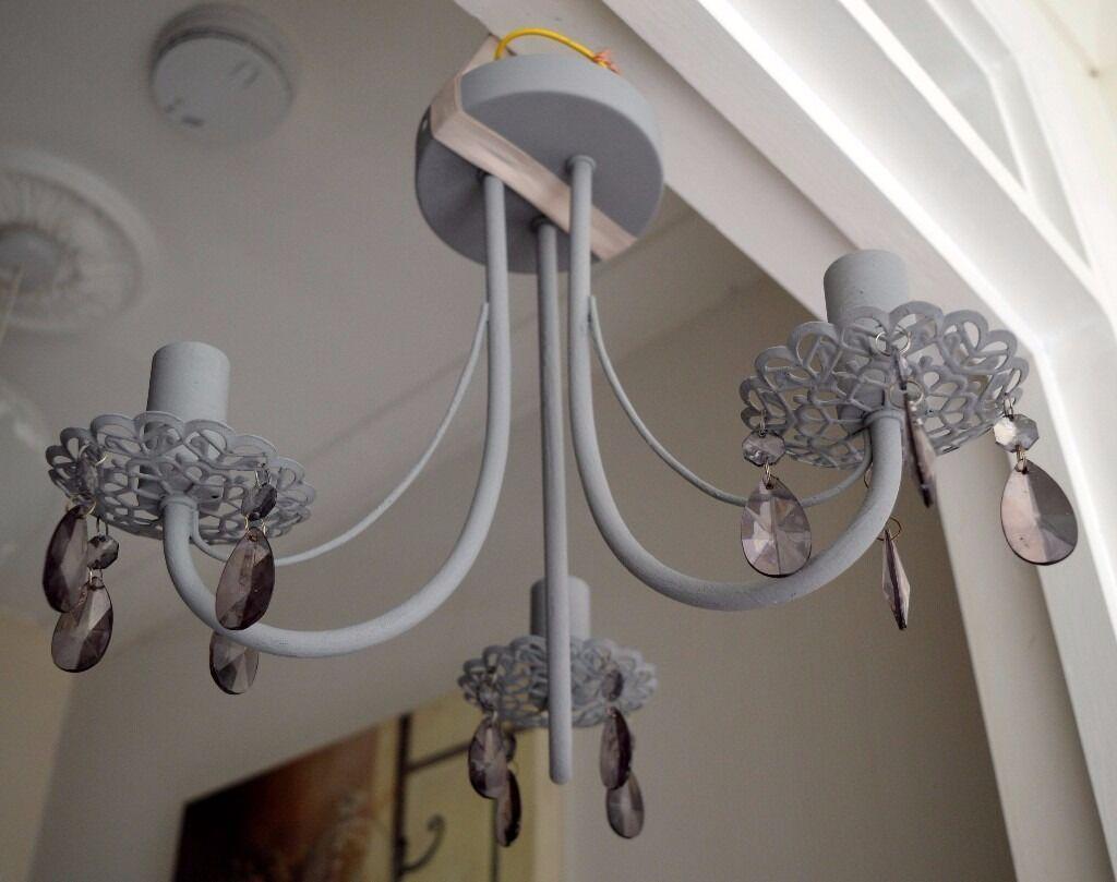 3 Arm Vintage Grey Droplets Lace Metal Ceiling Light Chandelier – Grey Chandelier
