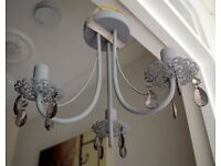 3 Arm Vintage Grey Droplets Lace Metal Ceiling Light Chandelier Shabby Chic