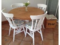 Shabby chic pine table and chairs