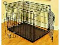 Large dog/ puppy training crate black metal tray