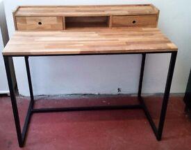 NEW Vintage Style Solid Walnut & Metal Desk
