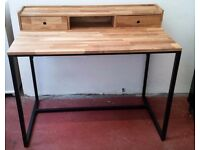 NEW Vintage Style Solid Walnut & Metal Desk