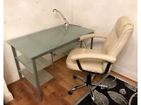 Glass office desk and office chair