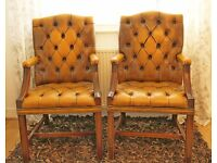 Pair of Vintage CHESTERFIELD Executive High Back Armchairs / Chairs - Rare Golden TAN Colour