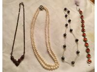 Pearls, silver, 14ct gold, amber, carnelian necklaces and bracelet