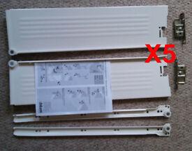 Blum Metabox Extend Roller Drawer Fittings (Batch of 8 Cream Drawers. 3x 15x50, 5x 12x45cm))