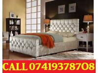 Crush velvet Bed Available in Double Single Kingsize with Mattress Options