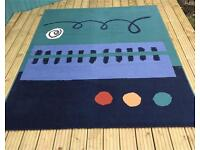 Large blue turquoise patterned Ikea area rug, low pile 170 x 230 cms