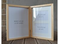 hinged double A4 pine photo frames. Mount (matt) included in one frame