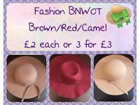BNWOT Fashion Hats ~ brown, burgundy & camel