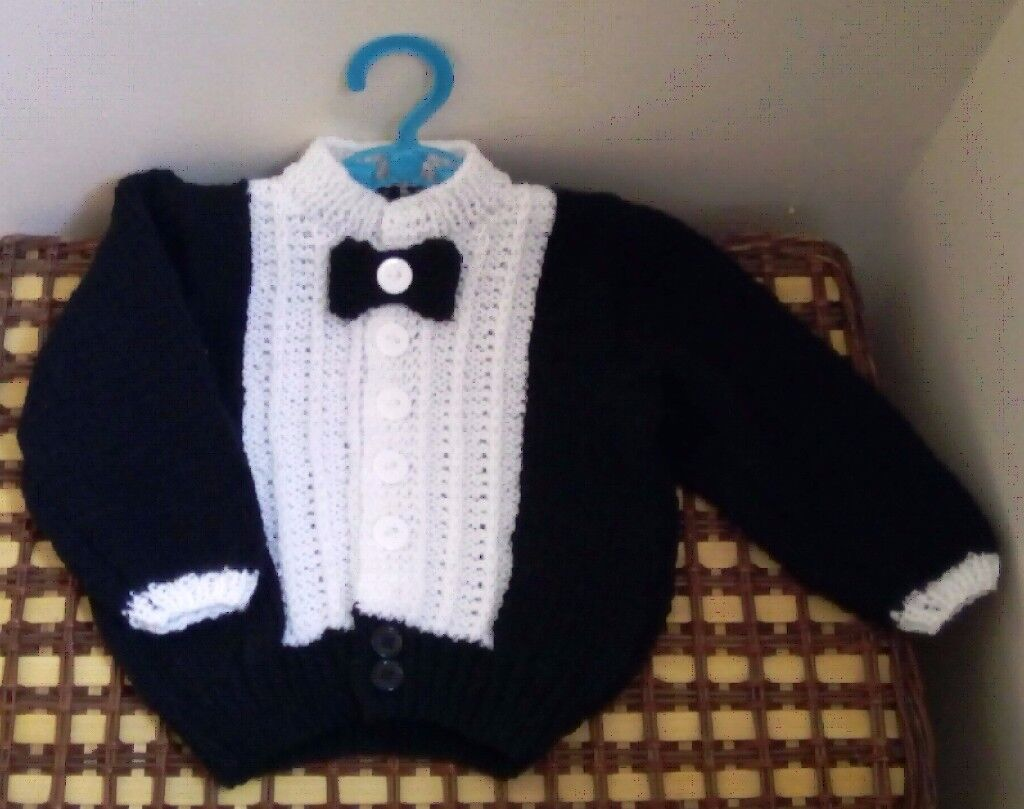 Handmade Baby Tuxedo Cardigan