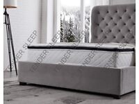 get your order now Butterfly Bed Frame w Ottoman Winged Back Fabric Bed Frame Velvet Chenille Double